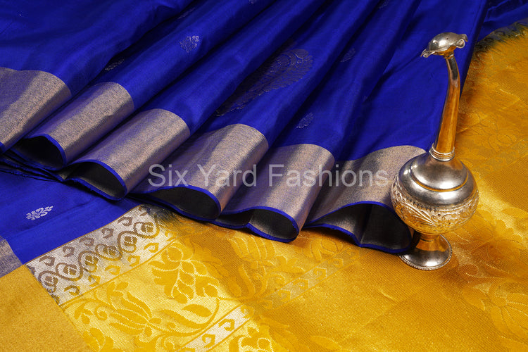 Blue Pure Silk Saree with Silver & Zari Butta