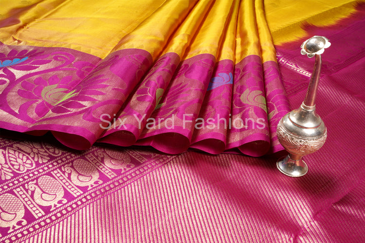 SaddleBrown Pure Silk Saree with Lotus Design Turning Border