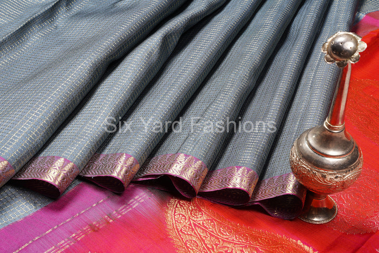 Grey Kanjeevaram Silk Saree with Zari Checks