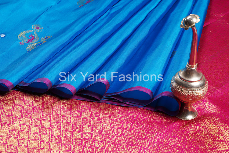 Sea Blue Kanjeevaram Silk Saree with Jumka Butta