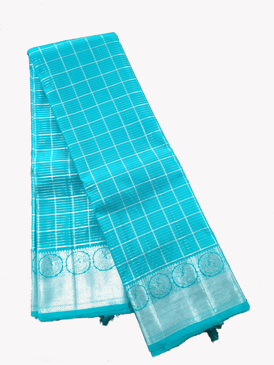 Blue Kanjeevaram Silk Saree with Silver Zari Checks