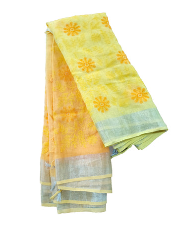 Yellow Pure Linen Saree