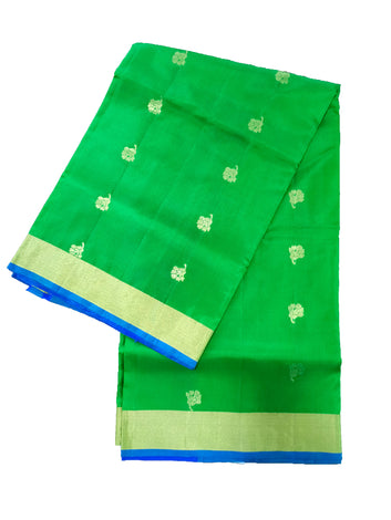 Pure Silk Saree Flower Butta with Contrast Blouse