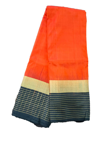 Pure silk saree with contrast border