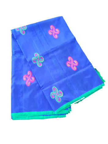 Pure silk Thread Work Handloom Saree without Border