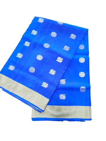Blue Pure Pochampally Silk Saree with Peacock Butta, Jacquard Blouse
