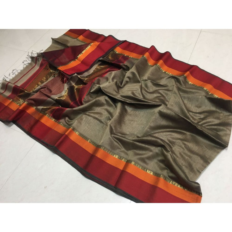 Pure Maheshwari Multi Border Saree