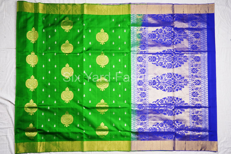 Green Soft Silk Saree with Silver Butta