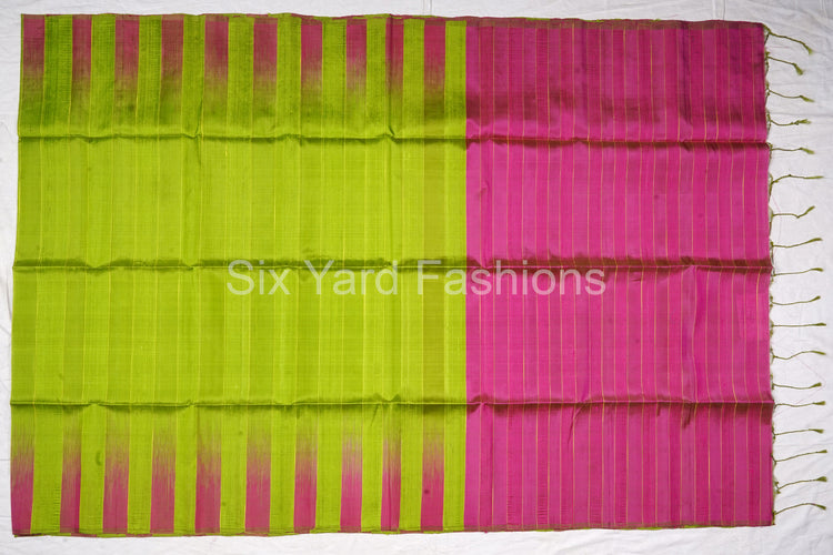 Green Dupioni Raw Silk Saree