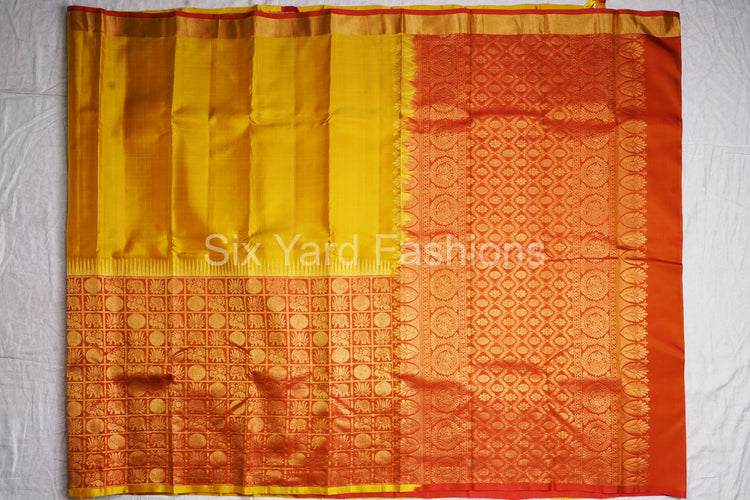 Kanjeevaram Pure Silk Saree with 20/90 inch Turning Border