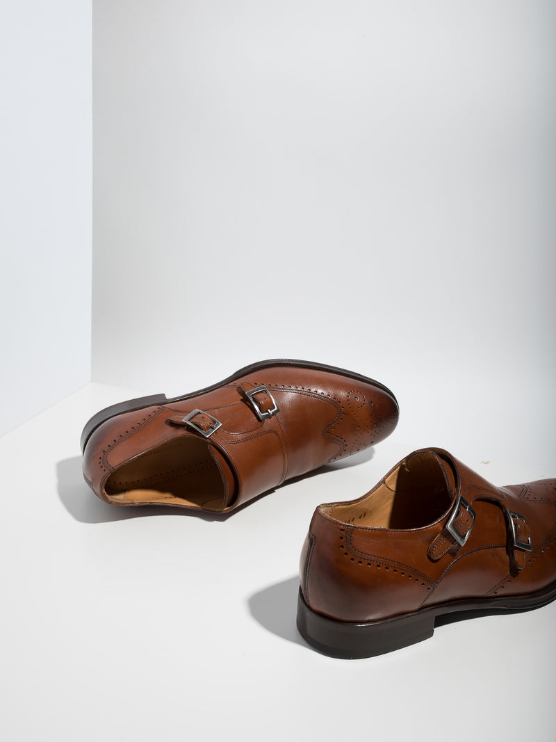 Armando Silva SaddleBrown Monk Shoes