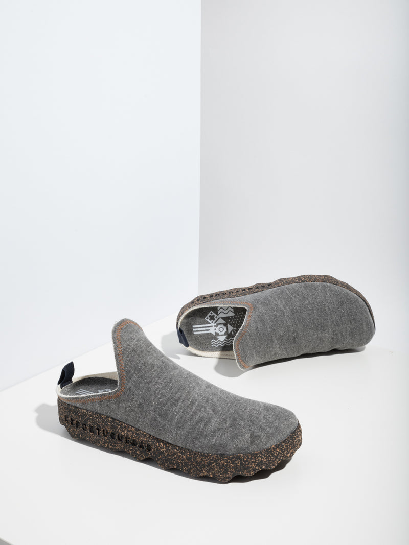 Gray Closed Mules
