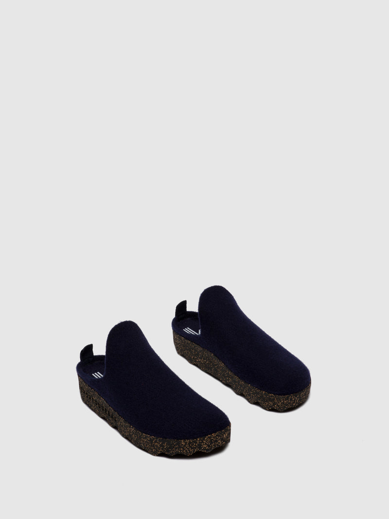 Round Toe Mules COME L Navy