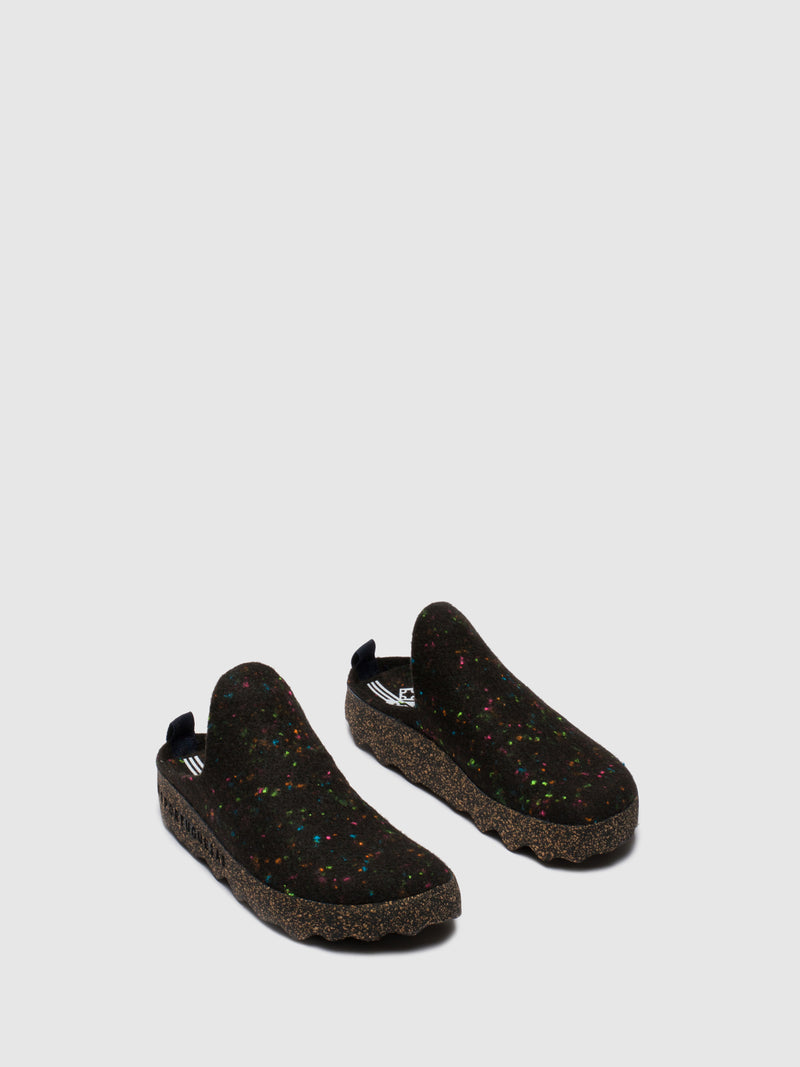 Round Toe Mules COME L Black Multicolor