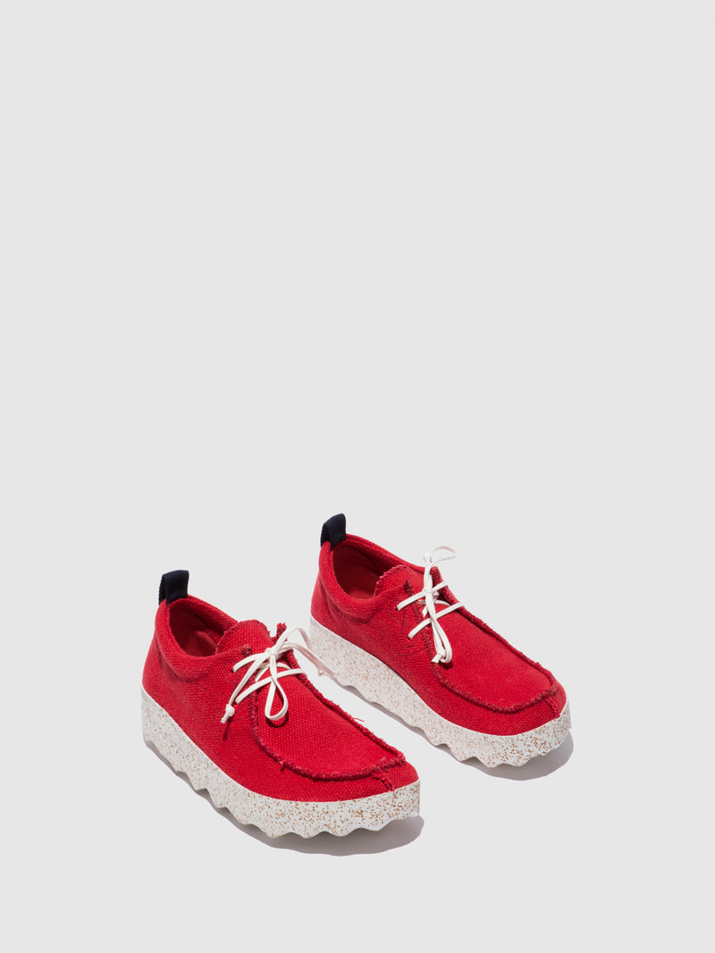 ASPORTUGUESAS Lace-up Trainers CHAT_L Red Recyled Linen