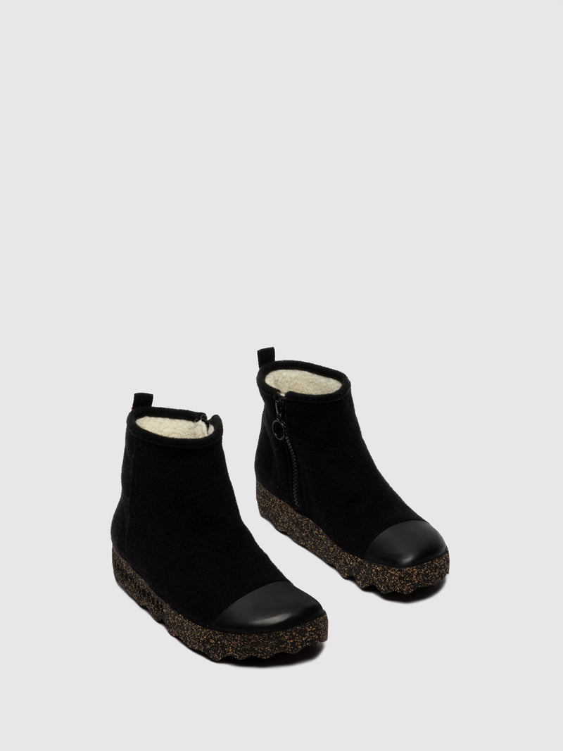 Zip Up Boots COSY L Black