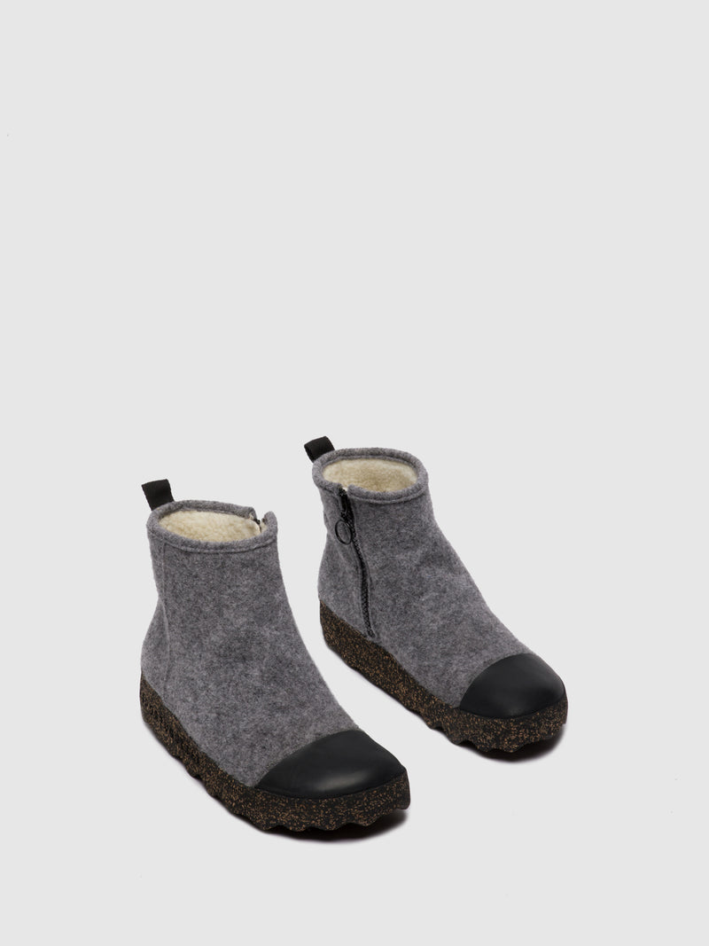 Zip Up Boots COSY L Concrete