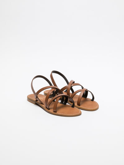 Cafè Noir Brown Sling-Back Sandals