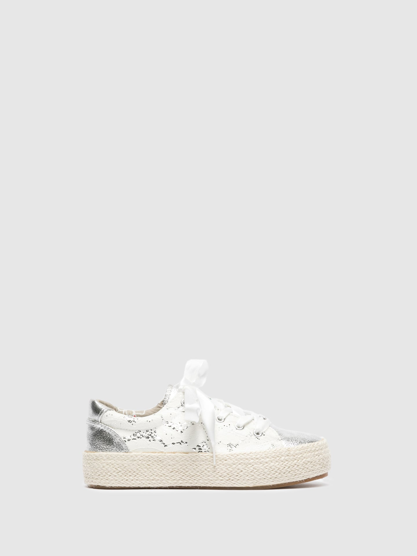 Cafè Noir White Lace-up Trainers