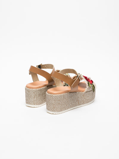 Cafè Noir Brown Buckle Sandals