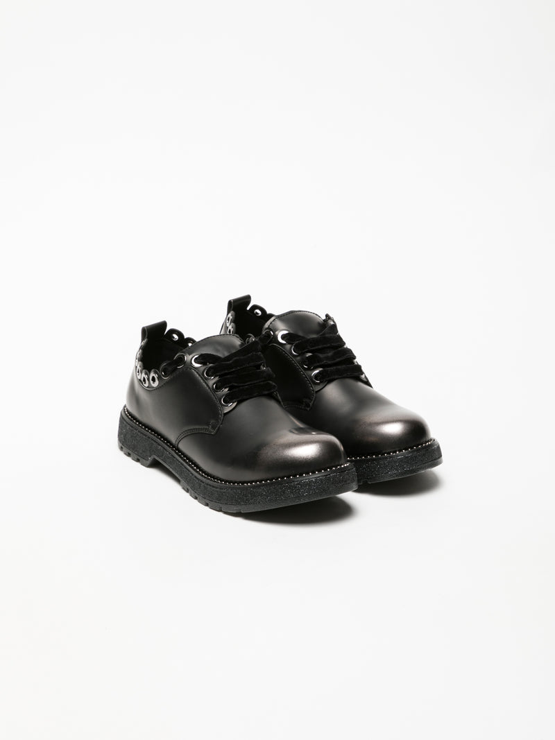 Cafè Noir Black Lace-up Shoes