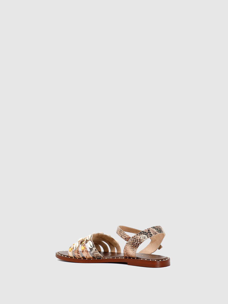 Cafè Noir Gold Ankle Strap Sandals