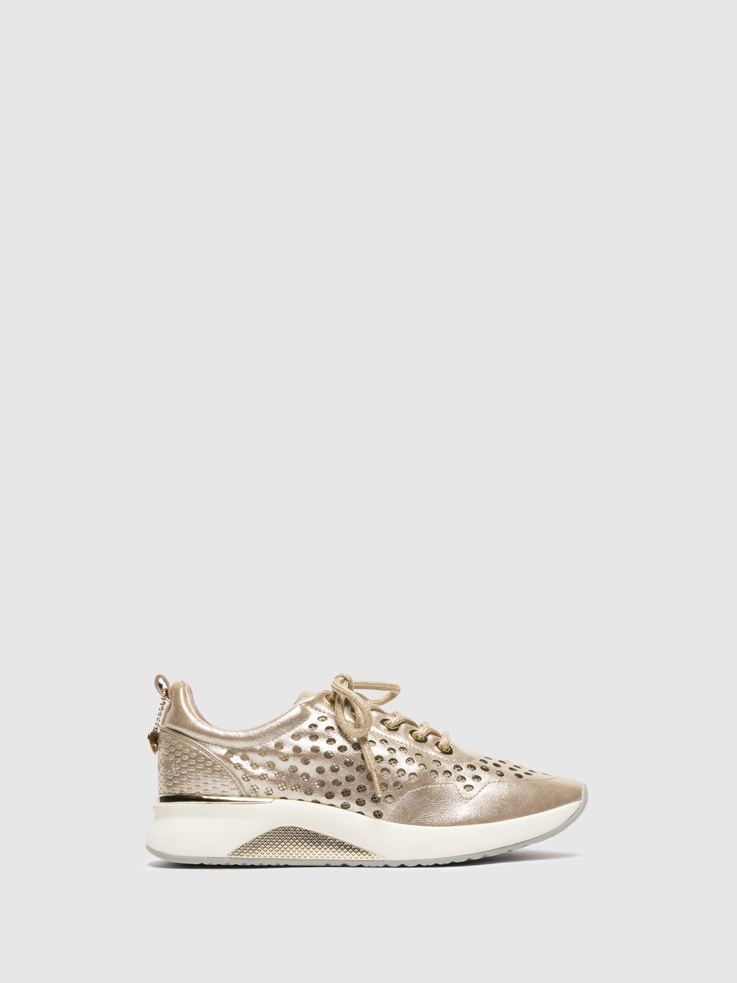 Cafè Noir Gold Lace-up Trainers