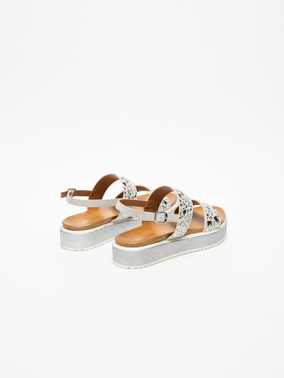 Cafè Noir White Buckle Sandals