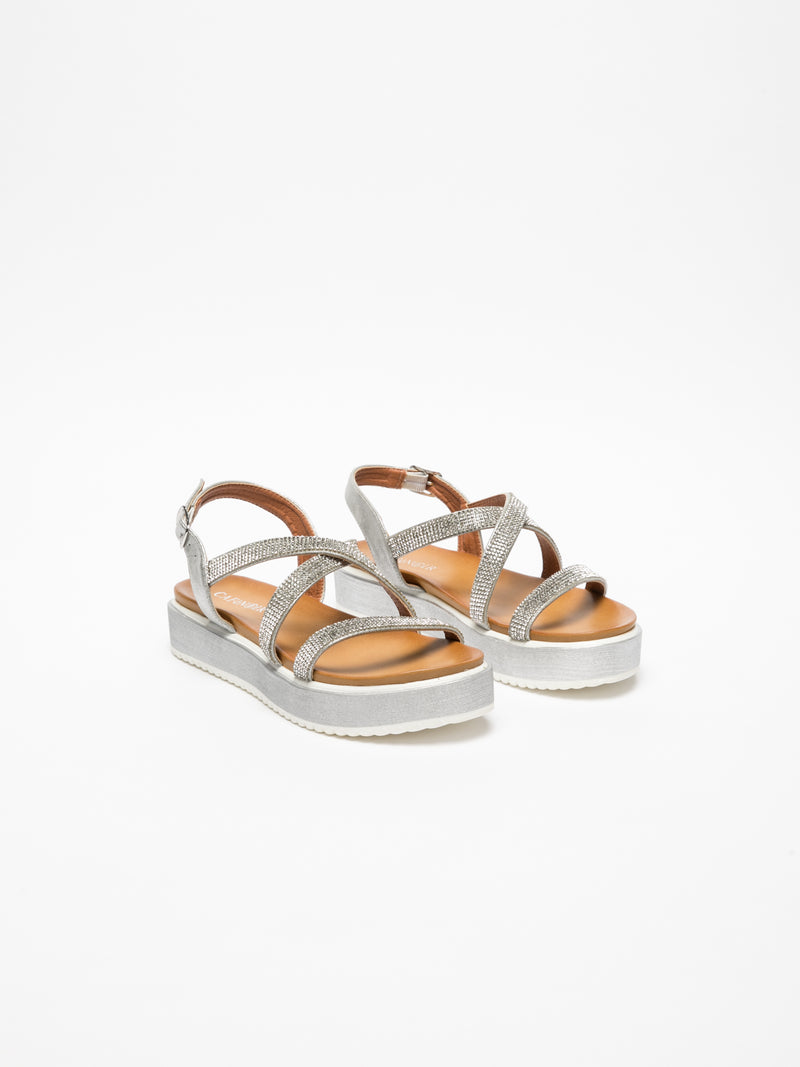 Cafè Noir Silver Buckle Sandals