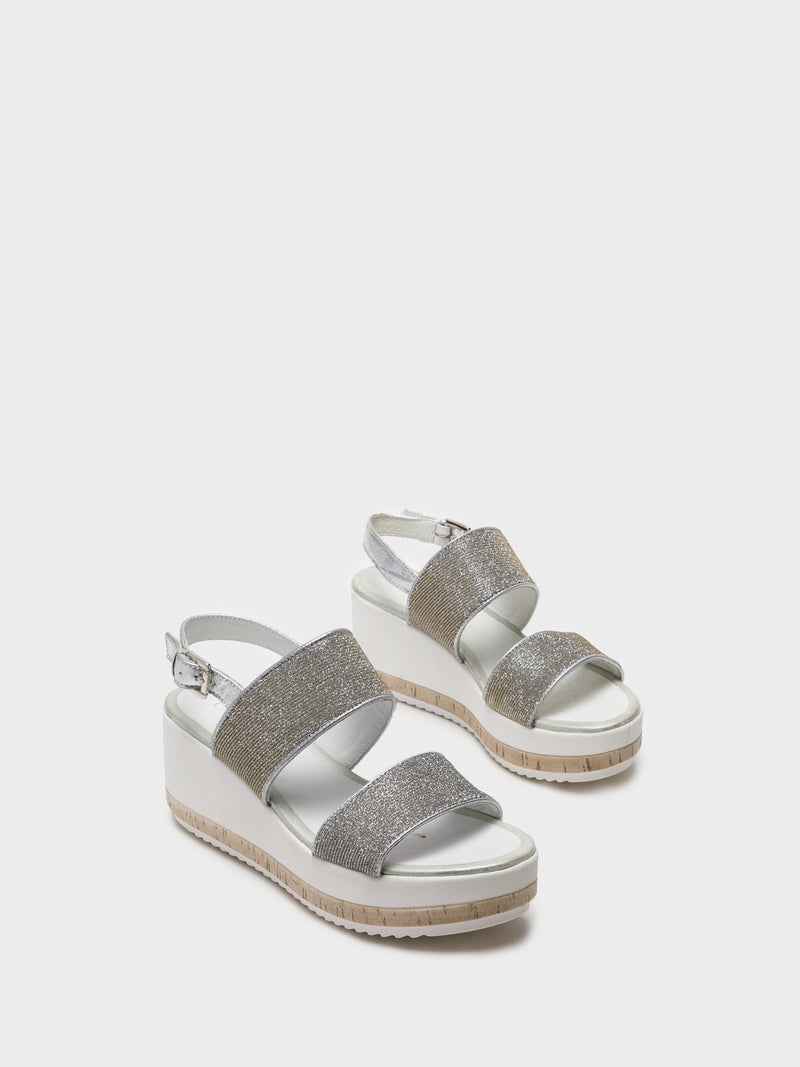 Cafè Noir Silver Wedge Sandals