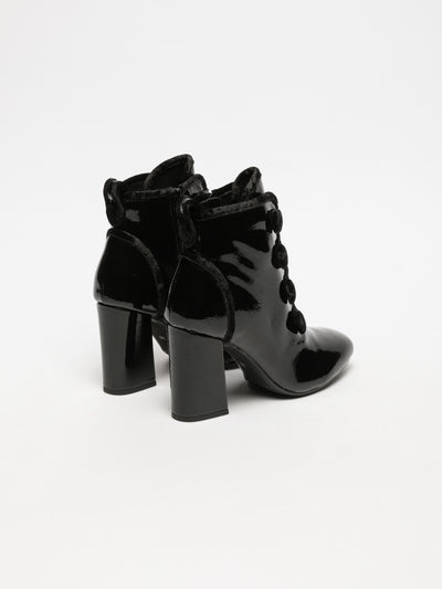 Cafè Noir Black Lace-up Ankle Boots