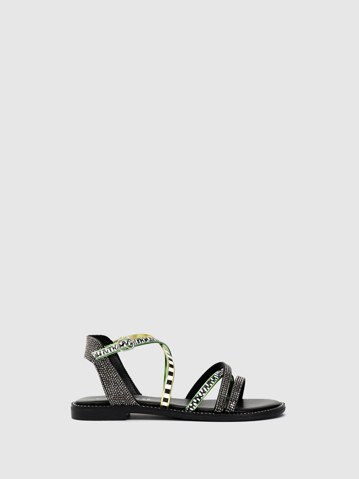 Cafè Noir Black Ankle Strap Sandals