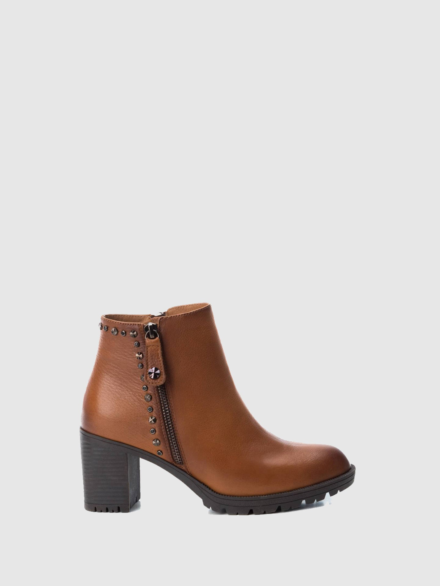 Carmela Camel Zip Up Ankle Boots