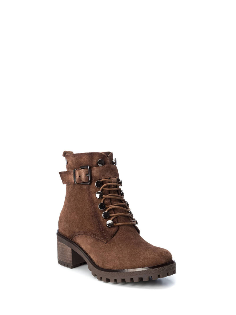 Carmela Brown Zip Up Ankle Boots