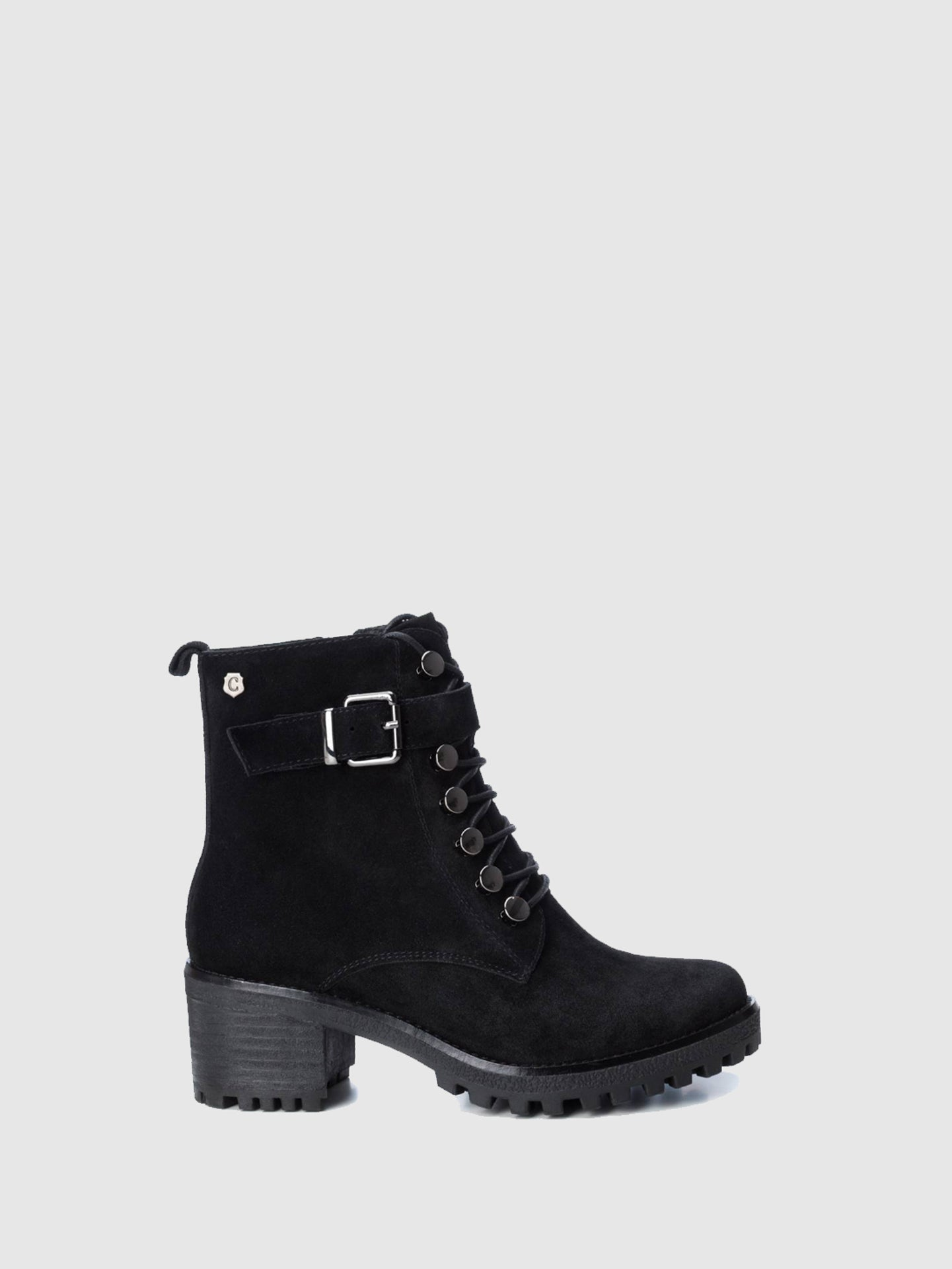 Carmela Black Zip Up Ankle Boots