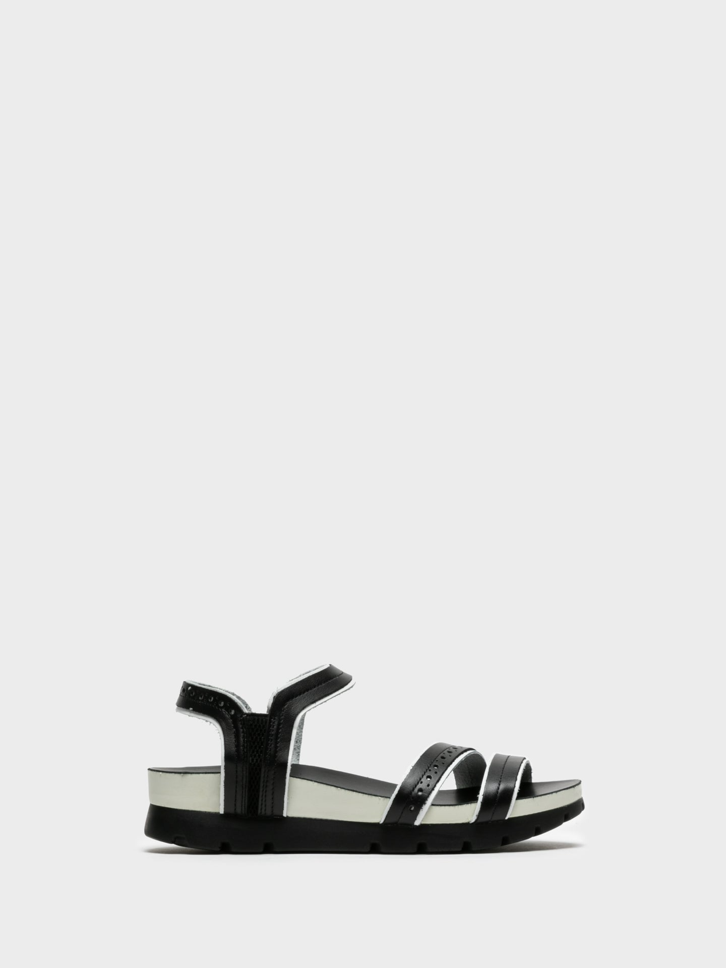 Camport Black White Sling-Back Sandals