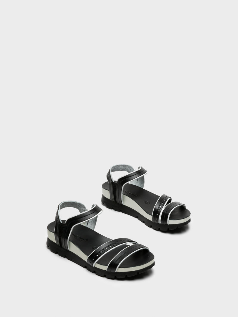 Black White Sling-Back Sandals
