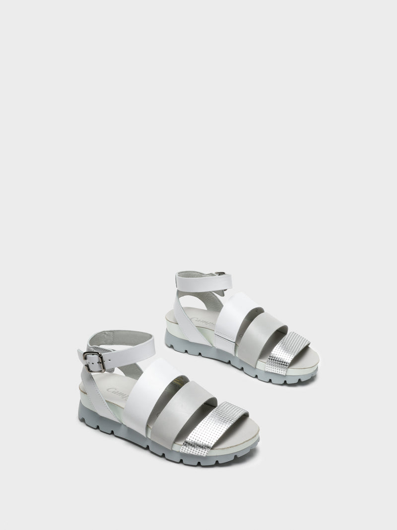 Camport Silver Ankle Strap Sandals