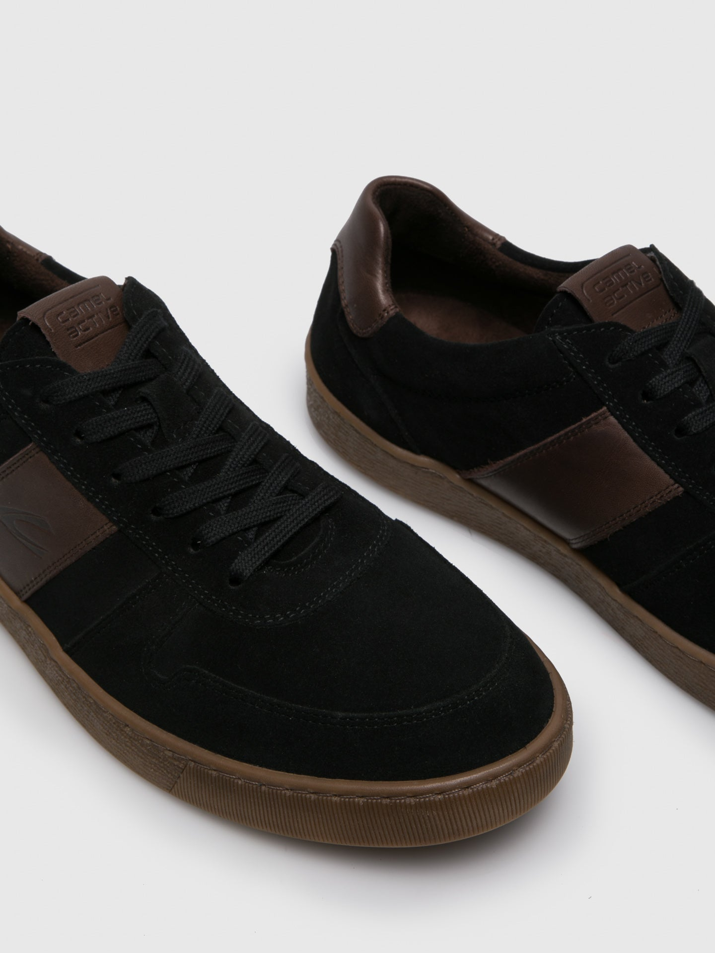 Black Suede Lace up Trainers Overcube