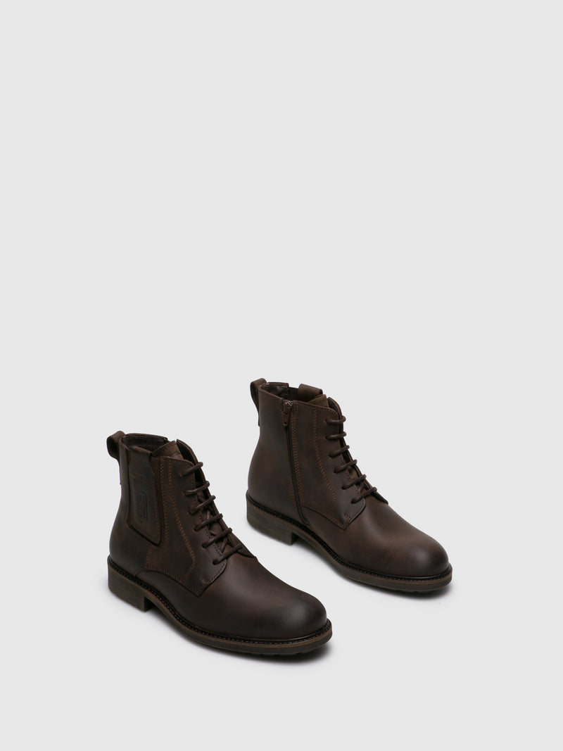 Brown Leather Round Toe Boots
