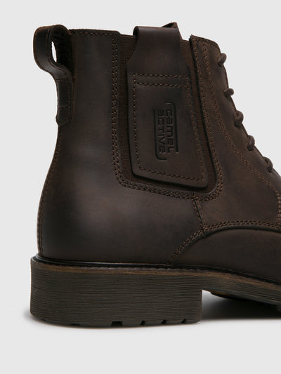 Camel Active Brown Leather Round Toe Boots