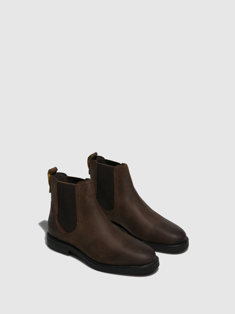 Brown Elasticated Ankle Boots