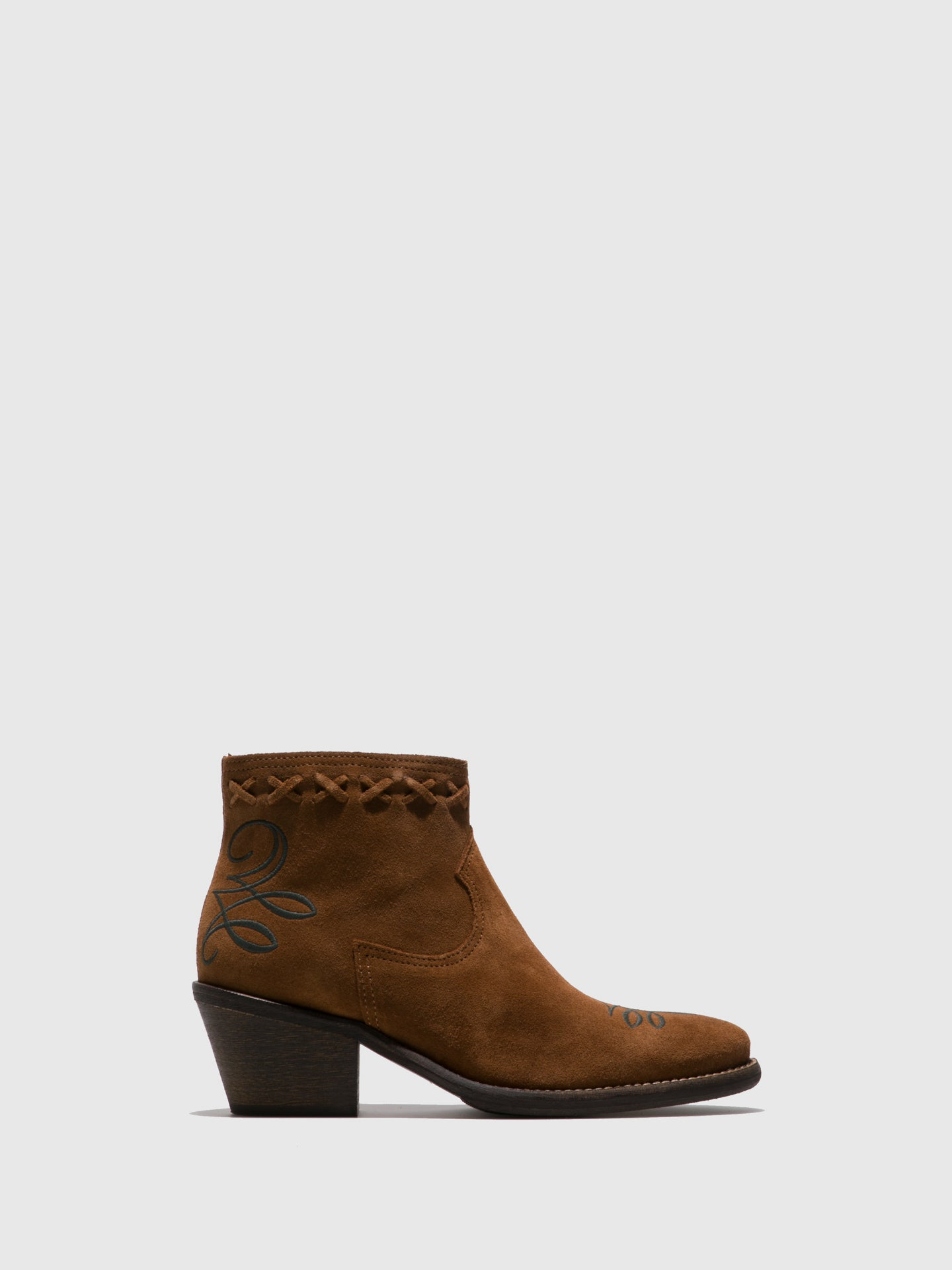 Camport Camel Suede Cowboy Ankle Boots