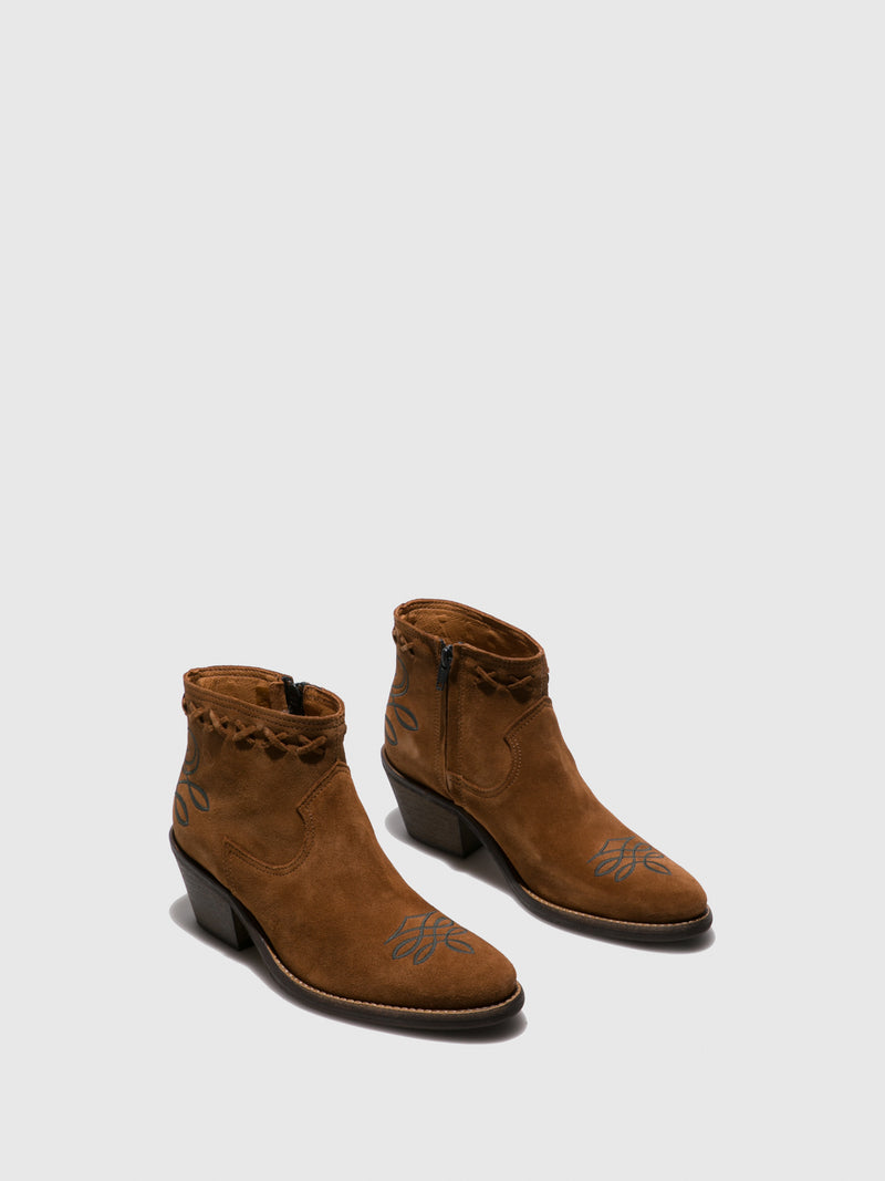 Camel Suede Cowboy Ankle Boots