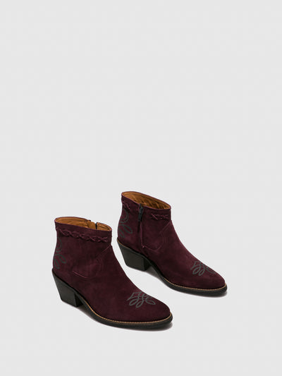 Camport Purple Suede Cowboy Ankle Boots