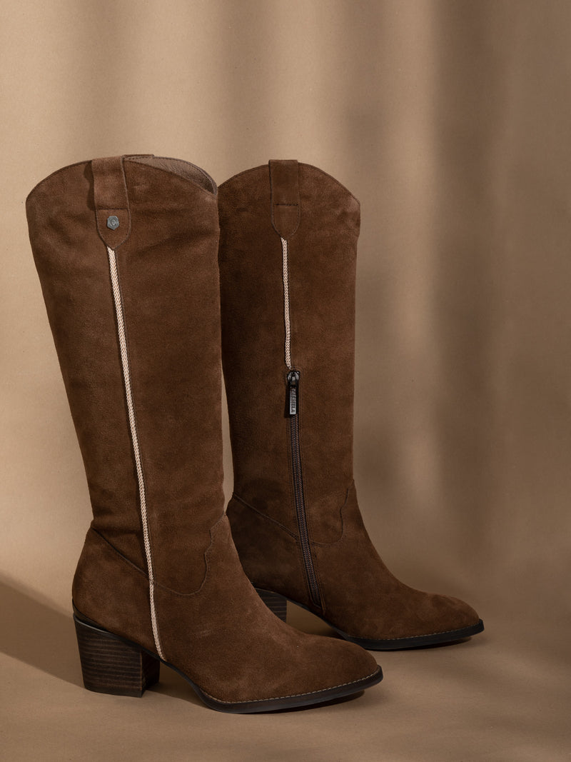 Carmela Camel Knee-High Boots