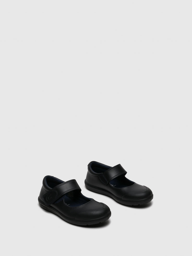 Navy Round Toe Ballerinas