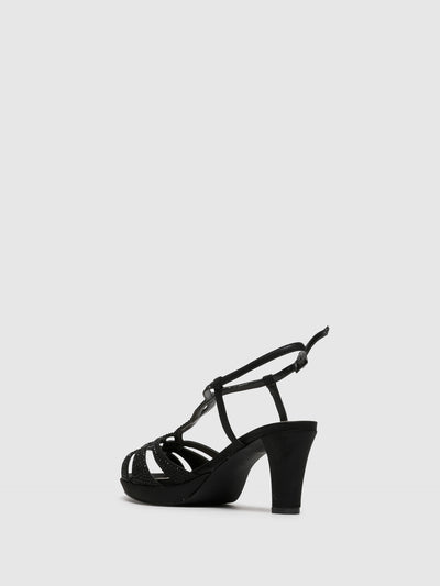 D'Angela Black Buckle Sandals