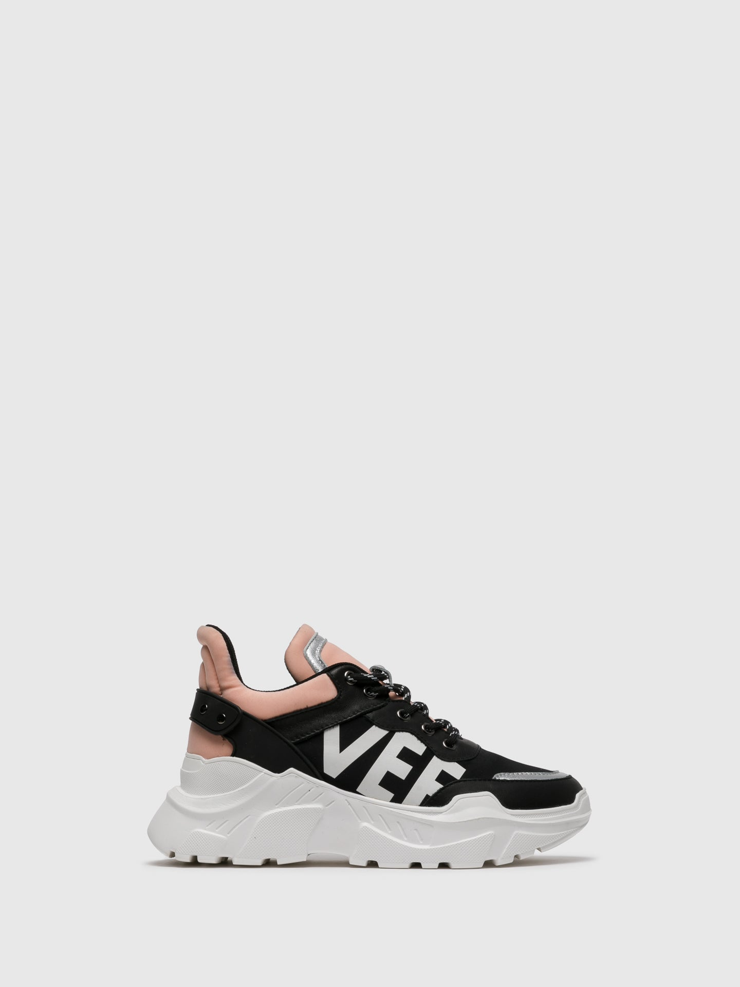 EMANUÉLLE VEE Pink Black Lace-up Trainers