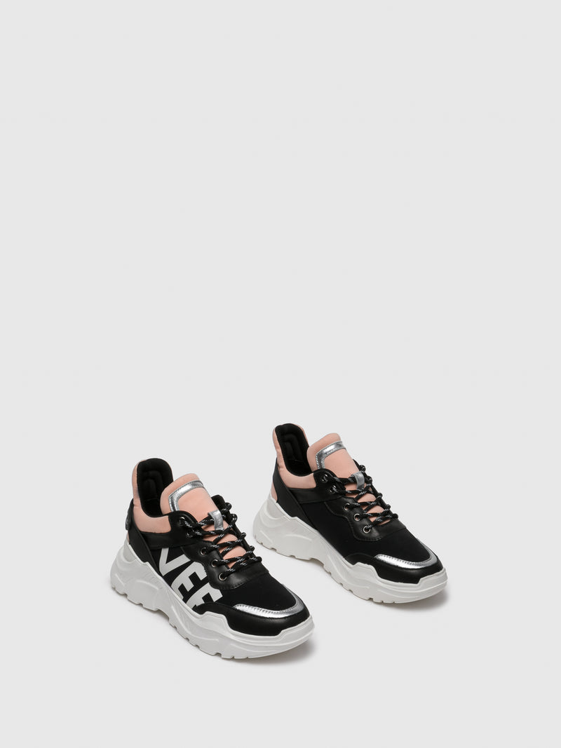 Pink Black Lace-up Trainers